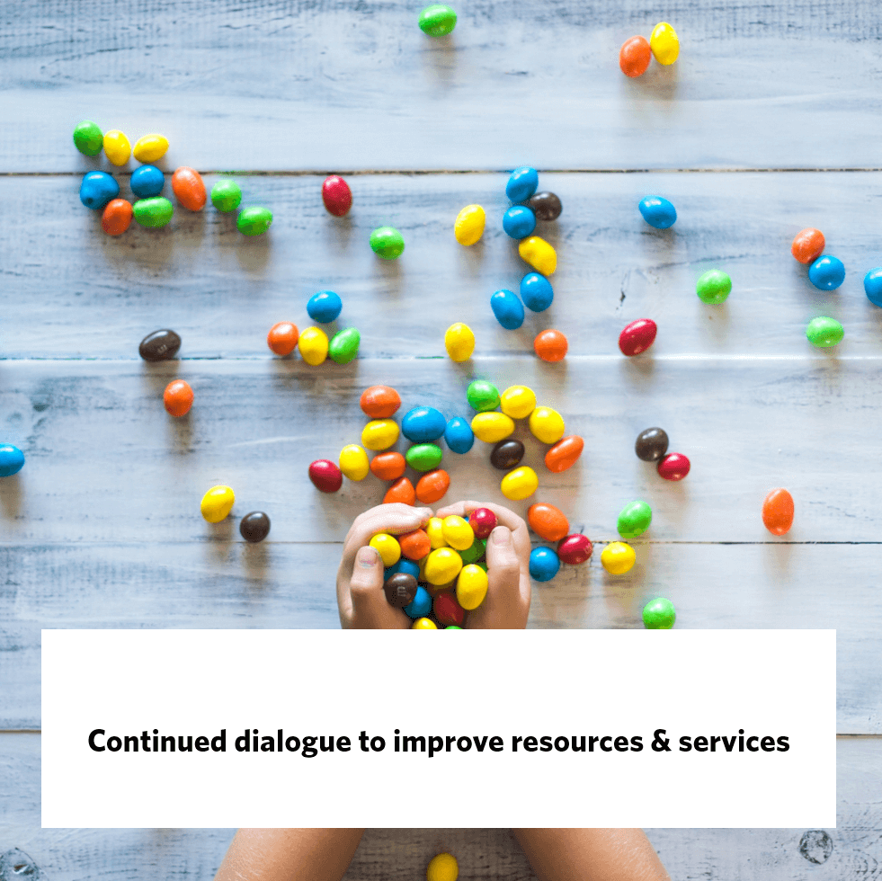 Continued dialogue to improve resources & services, giraffe insights