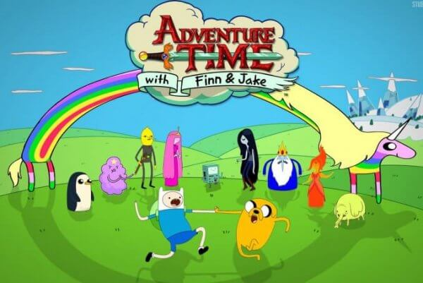 The image depicts the most popular characters of Adventure Time all together, Be Curious